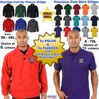 5x POLO SHIRTS & 5x FLEECES Front & Back Embroidery (FREE UK DELIVERY)