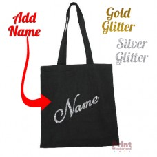 Personalised Canvas Tote Bag - GLITTER Custom ADD NAME Party Favour School Bag