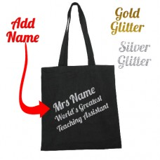 Personalised TEACHING ASSISTANT Gift Tote Bag Thank You School Leaving Glitter