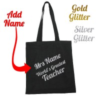 Personalised Teacher Gift Tote Bag Thank You School Leaving Gold Silver Glitter