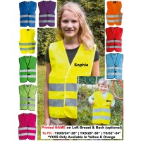 KIDS PERSONALISED CUSTOM PRINTED HI VIZ SAFETY VEST YOUTH HIGH VIS WAISTCOAT