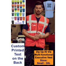 Personalised Custom Hi Vis Zip Executive Vest With Phone ID Pockets