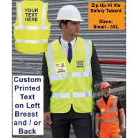 Personalised Custom Printed Hi Vis Safety Zip Tabard Zip Up Vest ID Pocket S-3XL