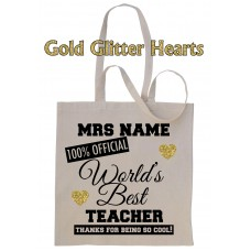 PERSONALISED Worlds Best Teacher School Gift Cotton Tote Bag ADD TEACHER NAME