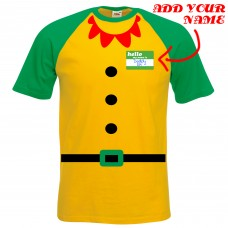 Add Your NAME Elf Costume Baseball T-Shirt *FREE DELIVERY*