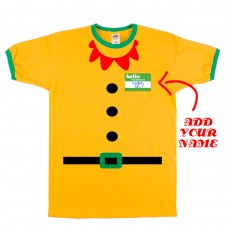 Add Your NAME Elf Costume Ringer T-Shirt *FREE DELIVERY*