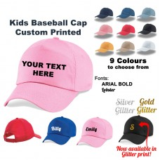 Custom Printed Personalised Baseball Cap Hat, Kids Girls Boys Childrens Glitter
