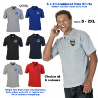 5x Classic - Mens CC101 Polo Shirts 190gm